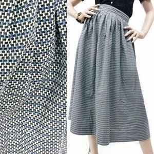 S/M Vintage 40s Deadstock Checked Tea Length Skirt